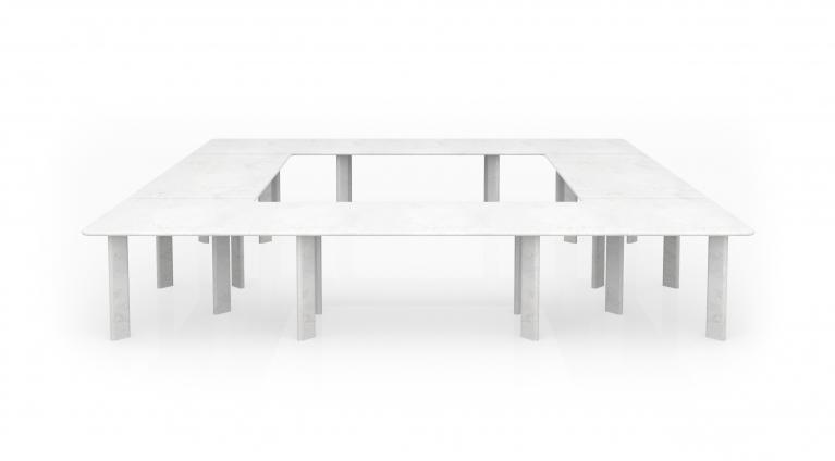 modular table in white carrara marble Agorà