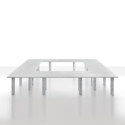 modular table system in white carrare marble