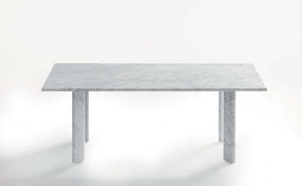 AGORÀ DINING TABLEin White Carrara marble, matt polished finish.