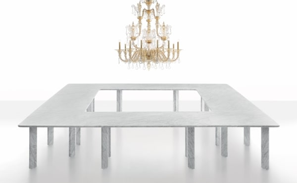 AGORÀ MODULAR TABLE SYSTEM in White Carrara marble, matt polished finish.