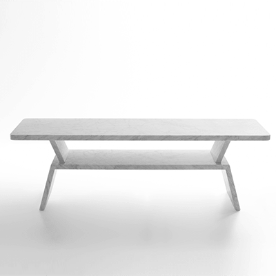 Aspetta bench in marble design by Maddalena Casadei