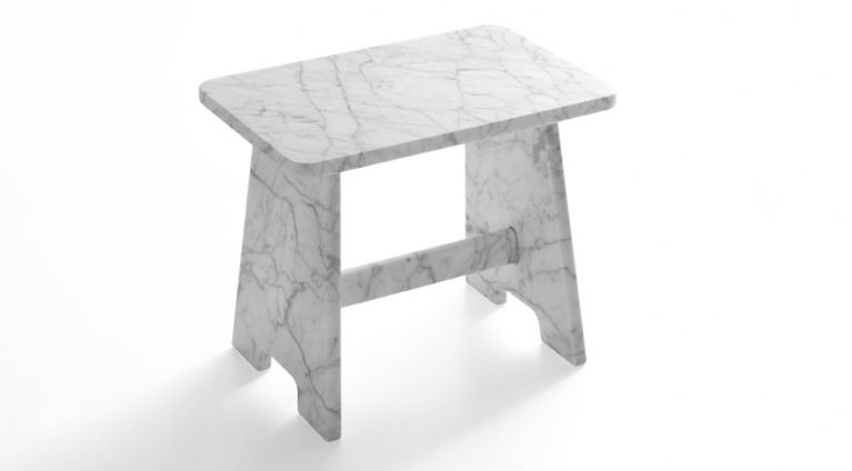 stool in white carrara marble