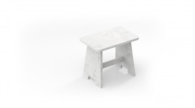 stool in white carrara marble