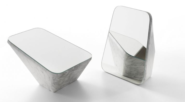 table mirror bella in white carrara marble
