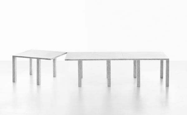 Modular table system, in White Carrara marble Colonnade