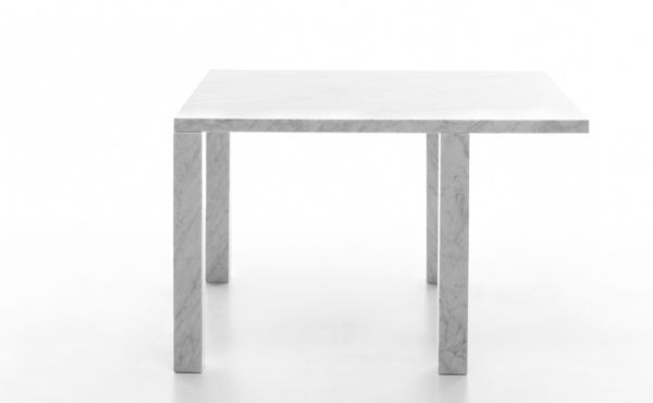 Modular table system, in White Carrara marble, matt polished finish