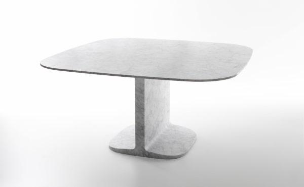 DINO DINING TABLE in White Carrara marble, matt polished finish.