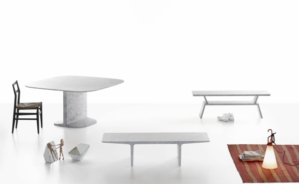 DINO DINING TABLE in White Carrara marble, matt polished finish.