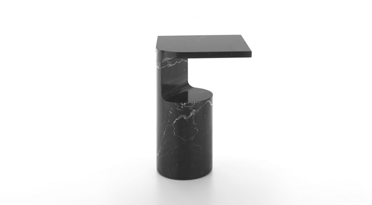 Galata side table in black marquina marble