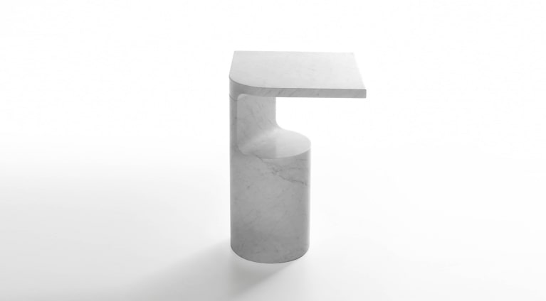 Galata side table in white carrara marble