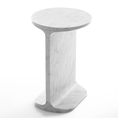 Ipe Tondo side table in marble