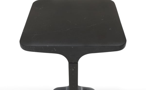 Ipe quadro side table in black marquina marble