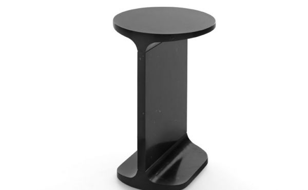 Side table Ipe Tondo in black marquina marble