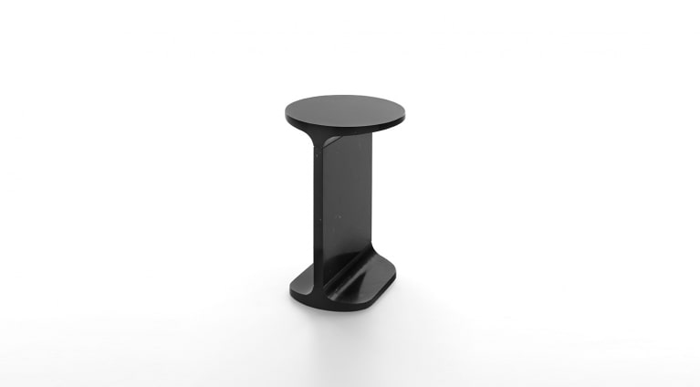 Ipe tondo, Round side table, in Black Marquina marble, matt polished finish