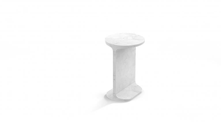 Ipe tondo, Round side table, in White Carrara marble, matt polished finish