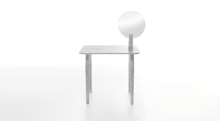 Isa dressing table by Studio Irvine in White Carrara marble, matt polished finish.