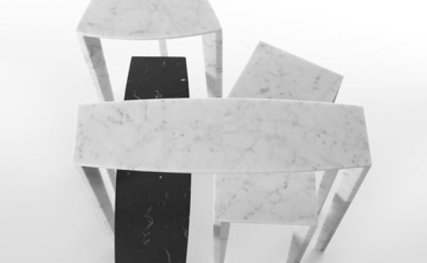 side tables in marble by Lawrence Steele