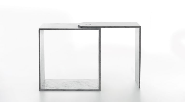 Desk with rotating top extension in marble