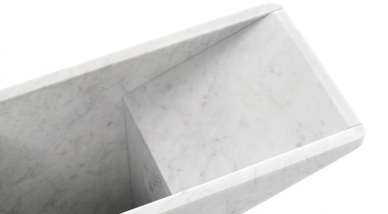 umbrella stand in white carrara marble