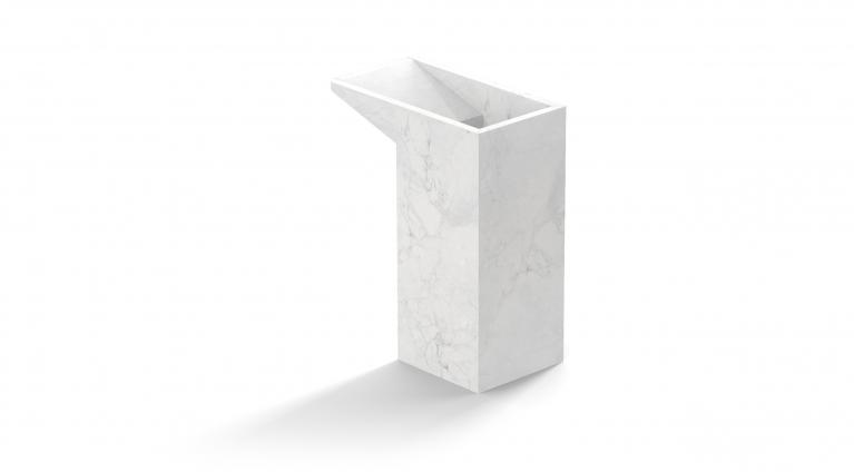 umbrella stand in white carrara marble
