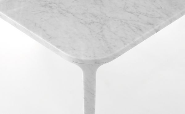 Dining table, in White Carrara marble, matt polished finish