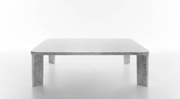 square low table in White Carrara marble
