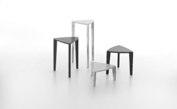 set of tables in white or black marble