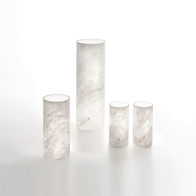luma lamps in white marble