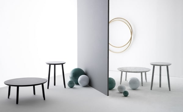 round table in marble design by Nendo Oki Sato