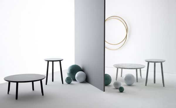 Ballerina low table, White Carrara marble, matt polished finished also available in Black Marquina marble, matt polished finished