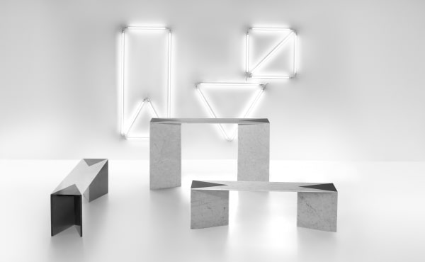 low tables in marble design by Lawrence Steele