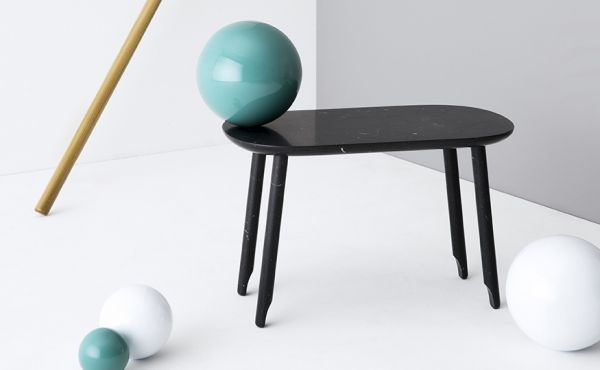 Ballerina low table, Black Marquina marble, matt polished finished also available in White Carrara marble, matt polished finished
