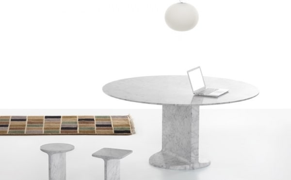 Dining table, round, in White Carrara marble, matt polished finish
