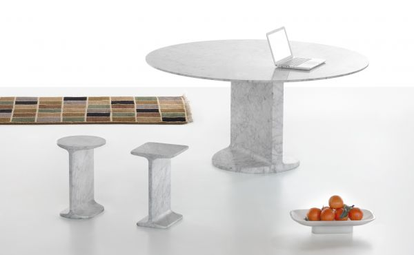 side table and round table in white carrara marble by James Irvine