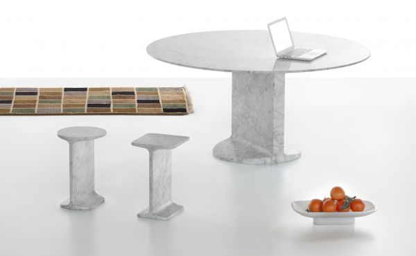 side table and round table in marble design by James Irvine