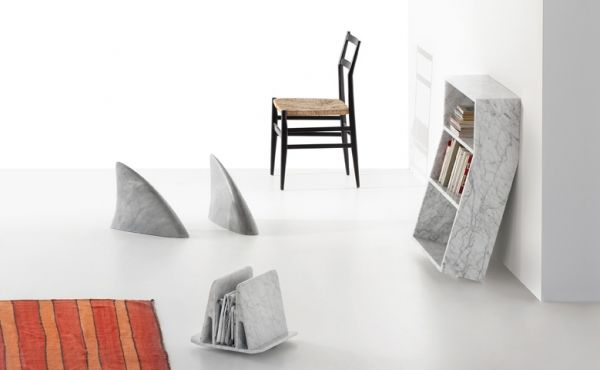 book case and products in marble design by Thomas Sandell