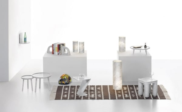 table and accessories in white carrara marble
