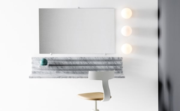 Place console Philippe Malouin 2017 console, wall-mounted modular system, White Carrara marble, matt polished finished also available in Black Marquina marble, matt polished finished