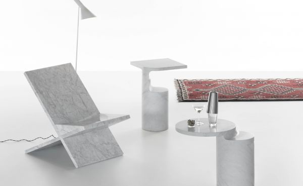 Sultan chair, Galata and Taksim side table by Konstantin Grcic in White Carrara marble, matt polished finish.
