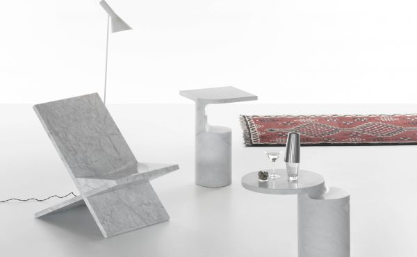 side table and accessories in white carrara marble design by Konstantin Grcic