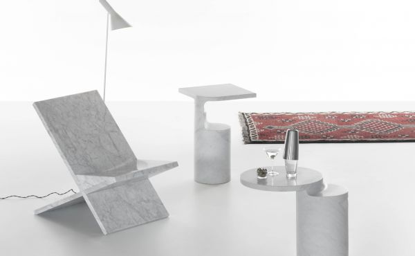 side table and chair in white carrara marble design by Konstantin Grcic