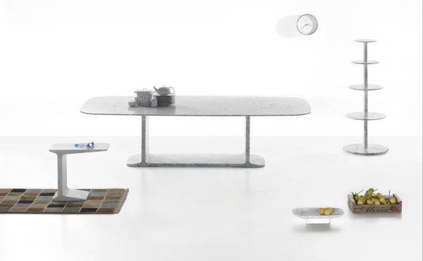 table and accessories in marble by james irvine