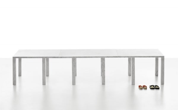 Modular table system in marble desing by David Chipperfield
