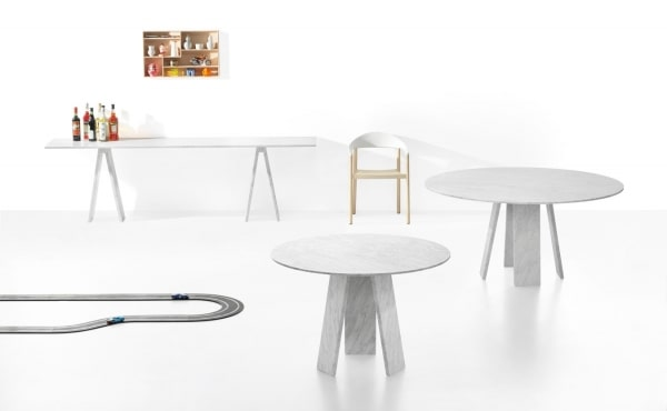 Topkapi 3 dining table by Konstantin Grcic in White Carrara marble, matt polished finish