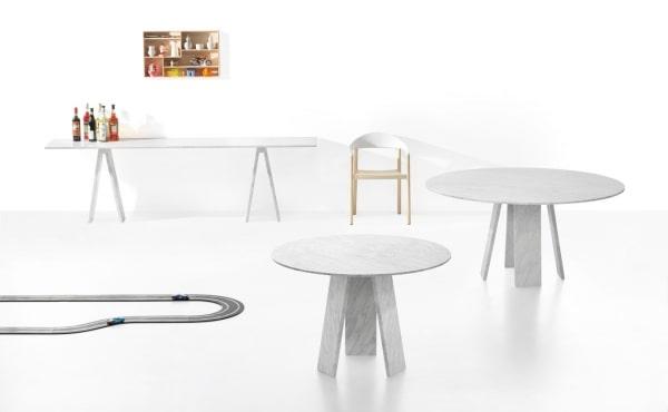Topkapi 4 dining table by Konstantin Grcic in White Carrara marble, matt polished finish.