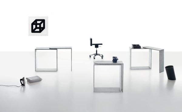 Keyboard desk with rotating top extension in White Carrara marble by Konstantin Grcic