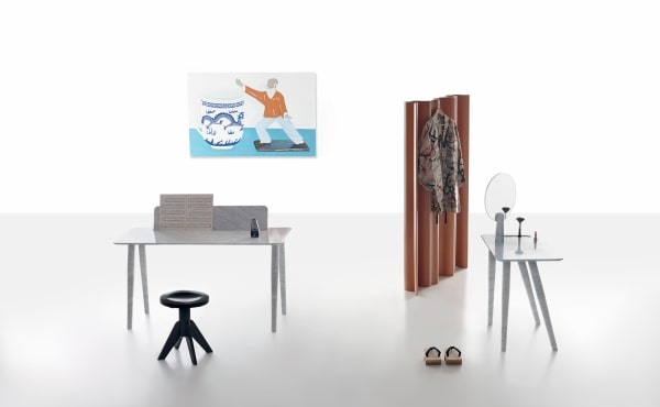Toio Writing desk and Isa dressing table  by Studio Irvine in White Carrara marble, matt polished finish.