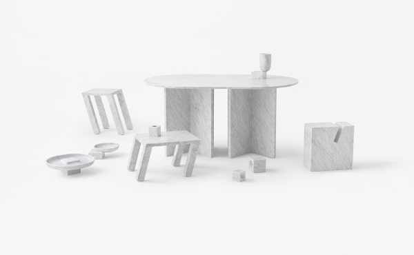 side table and accessories in white carrara marble design by Nendo Oki Sato