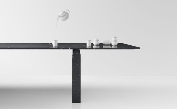 Seesaw 72 in Black Marquina marble design by Nendo Oki Sato
