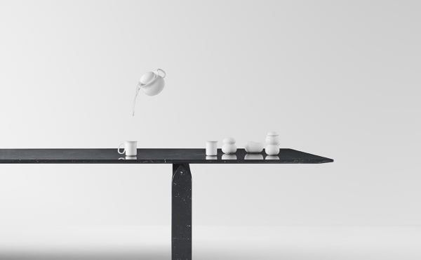dining table in marble designed for Marsotto edizioni